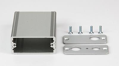 Bearbeitetes Aluminiumgehäuse 55x24x80 (BxHxT) 2xBNC, 1xDC