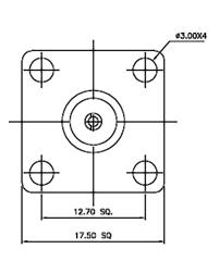 BNC-Einbaustecker, Flanschbefestigung